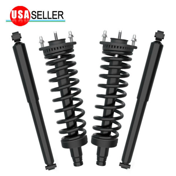 2 Front Complete Struts & 2 Rear Shocks For 2002-09 Chevy Trailblazer GMC Envoy