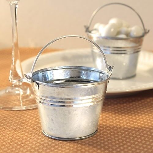 75 Silver Metal Galvanized Candy Box Pail Wedding Bridal Shower Party Favors