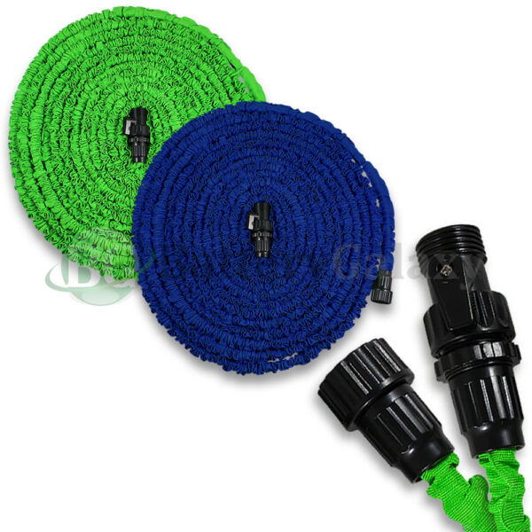 Deluxe 25 50 75 100 Feet Expandable Flexible Garden Water Hose Nozzle Green/Blue