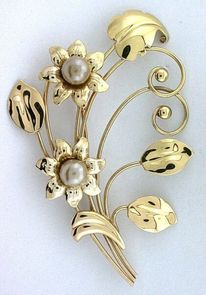 Harry Iskin HI Vintage Pure Sterling Goldplated Flower Faux Pearl Brooch Pin