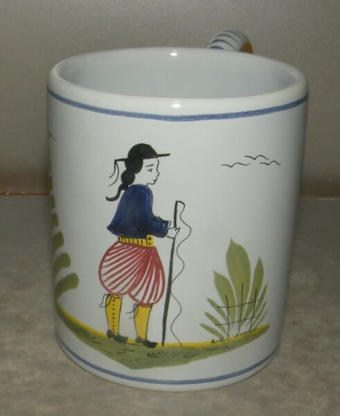 Coffee Mug Mistral Blue with a Man   Henriot Quimper