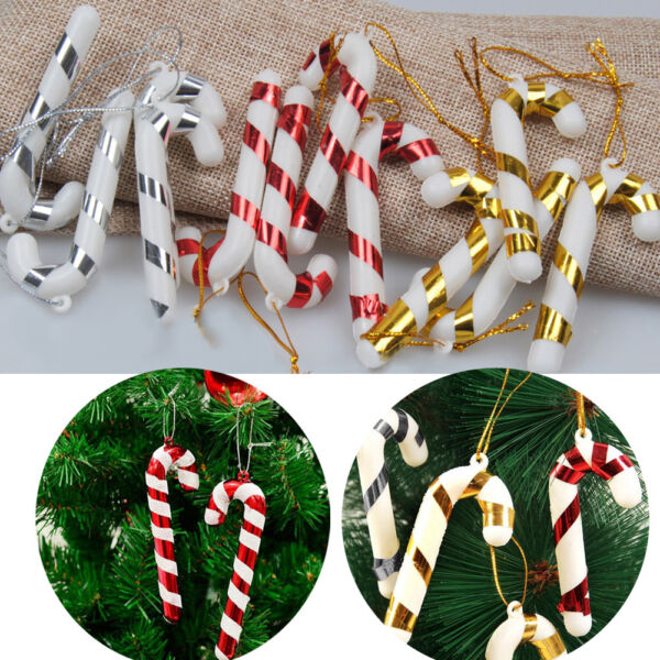US 12Pc Christmas Tree Mini Candy Cane Hanging Holiday Party Ornament Decor Cute