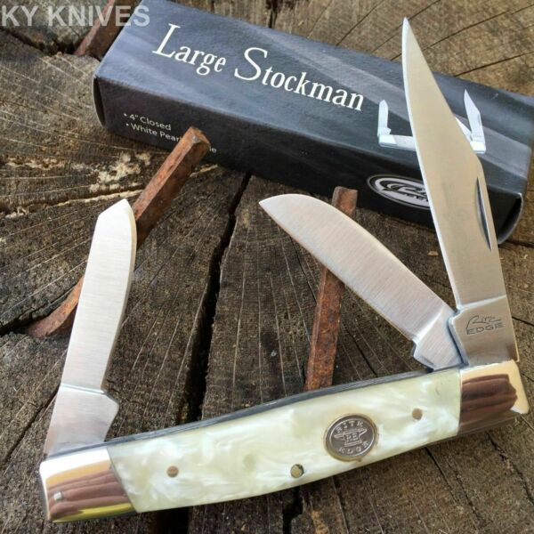 Grand Dads WHITE Large Stockman 3 Blade Pocket Knife 4