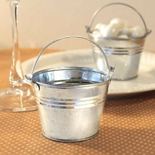 100 Silver Metal Galvanized Candy Box Pail Wedding Bridal Shower Party Favors