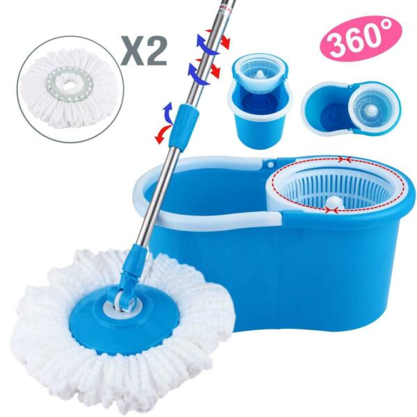 Easy Magic Floor Mop 360°Bucket with 2 Spinning Heads Microfiber Rotating Head $19.90