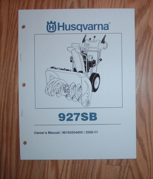HUSQVARNA 927SB SNOW BLOWER OWNERS MANUAL WITH ILLUSTRATED PARTS LIST