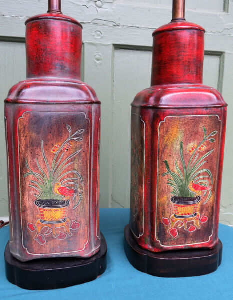 Rare Pair Frederick Cooper Ceramic Tea CanisterCaddy Chinoiserie Table Lamps