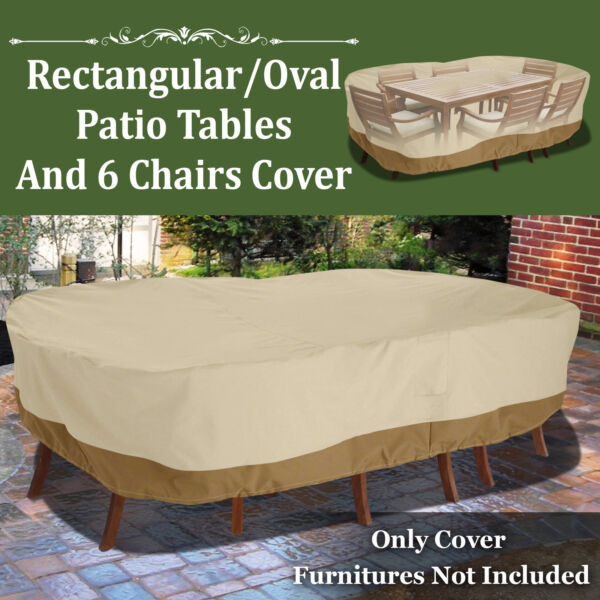 130quot;L Patio Waterproof Rectangular Oval Furniture Set Cover Outdoor Table Chairs $54.55