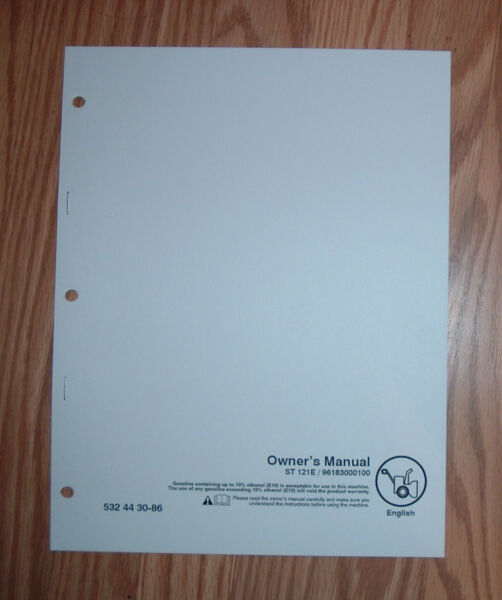 HUSQVARNA ST 121E SNOW BLOWER OWNERS MANUAL WITH ILLUSTRATED PARTS LIST