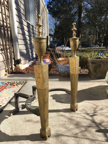 Period Neoclassic Brass Fluted English Urn Topped Andirons Missing Part 22
