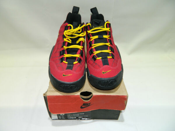 NEW IN BOX 1997 Nike Air B-QUE Varsity Red Black VMaize 130838-601 size 8.5
