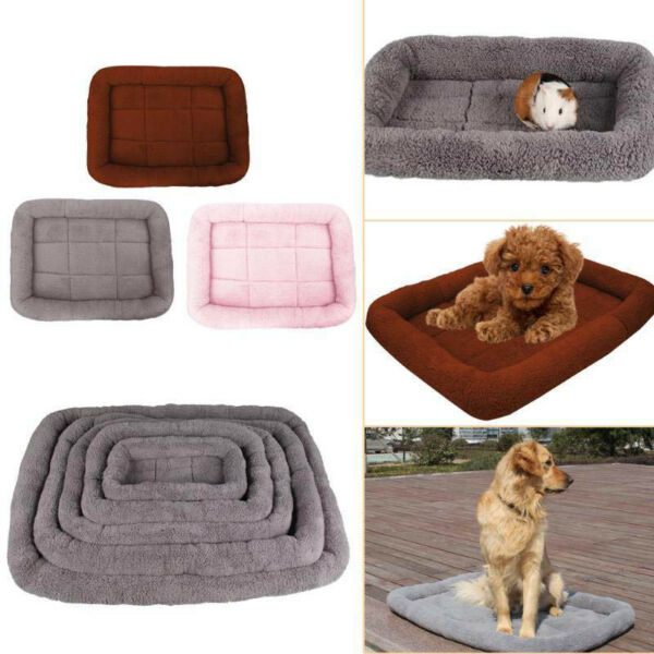 Hot Pet Bed Cushion Mat Pad Dog Cat Cage Kennel Crate Warm Cozy Soft House