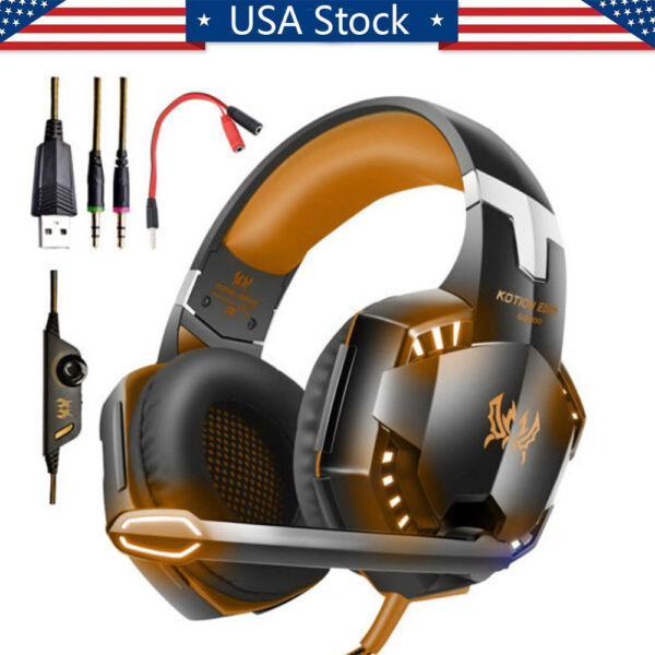 3.5mm Gaming Headset Mic LED Headphones Stereo Surround for PS4 Xbox ONE PS3 PC