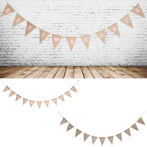 Rustic Baby Shower Jute Hessian Burlap Flags Bunting Banner Garland Wall Decor