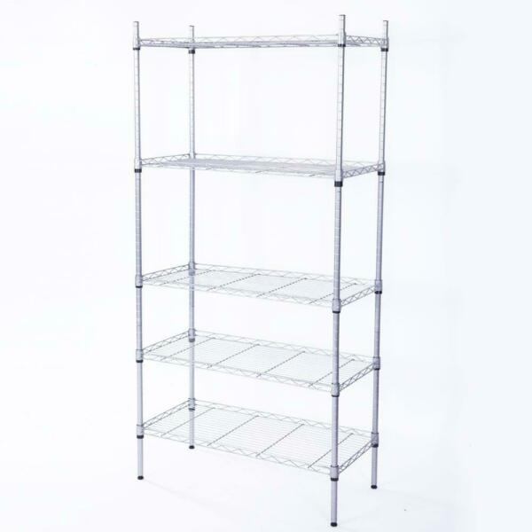 5 Level Garage Wire Metal Shelving Adjustable Steel HeavyDuty Storage Shelf $40.98