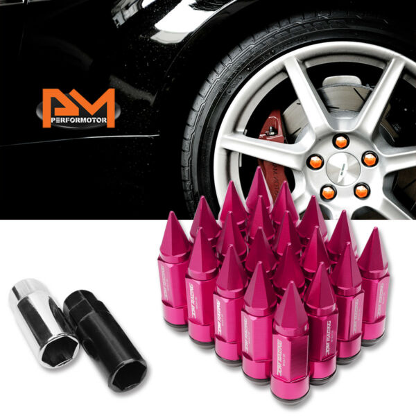 M12X1.5 Pink JDM Cone Spiked Cap Wheel Lug Nuts+Extension 23mmx83mm Tall 20Pc