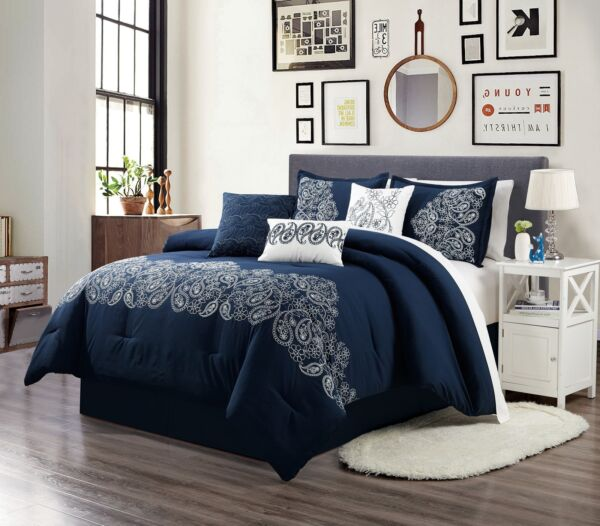 Linz 7 Piece Navy Blue White Embroidered Paisley Floral Scroll Comforter Set $64.99