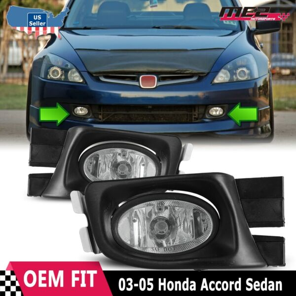 For Honda Accord 03-05 Factory Replacement Fit Fog Lights Wiring Kit Clear Lens