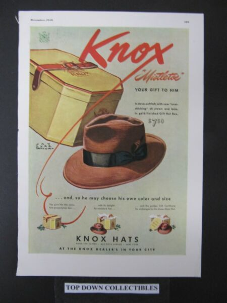 Knox Hats Cartoon Vintage ADS 1940 Esquire Mag.