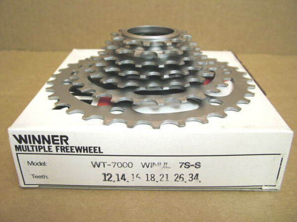 New-Old-Stock Suntour Winner Ultra 7-Speed Freewheel (12x34) wSilver Finish
