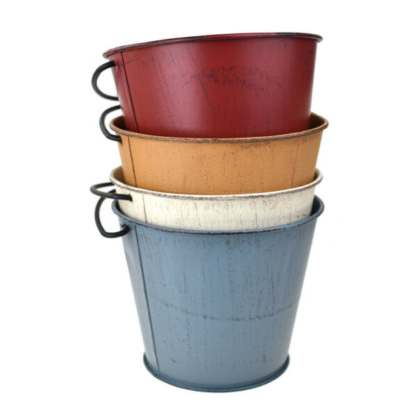 Distressed Rustic Metal Pail Buckets Assorted Colors 4-12-Inch