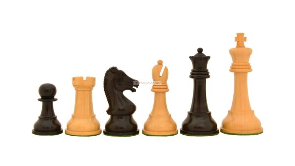 The  Reproduced Drueke Vintage  Chess Pieces in Ebony  Box Wood - 4