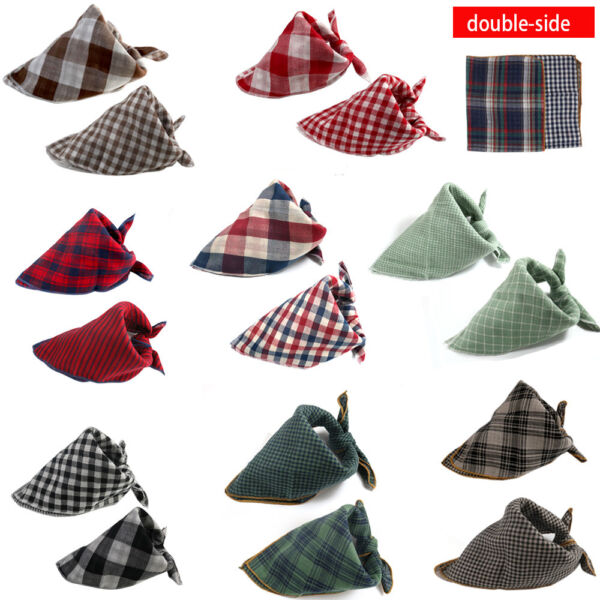 Dog Large Bandanas Adjustable Plaid Dog Scarf Washable Double side Baby Pinafore $20.23