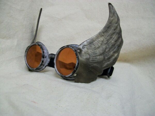 Winged Silver Goggles Steampunk Hermes Mercury Olympian Messenger Thor Aviator