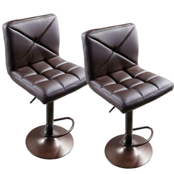 New 2 PACK Adjustable Modern PU Leather Swivel Hydraulic Chair Bar Stools Brown
