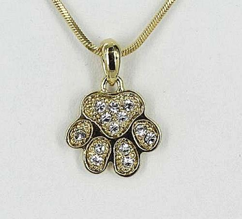 Small Dog Paw Clear Crystal Gold Plated Pendant Necklace $6.29