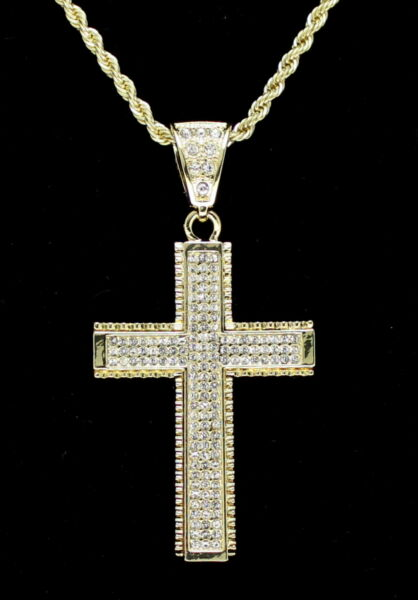 Cross Pendant 14k Gold Plated Cz 24quot; Rope Chain Hip Hop Necklace $11.99