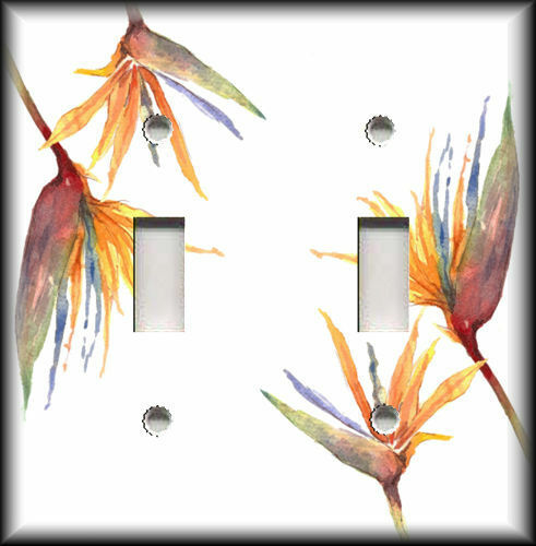 Metal Light Switch Plate Cover Bird Of Paradise Flowers Art Home Decor Tropical