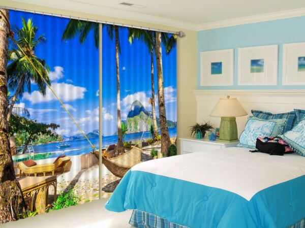 3D Sea Hammock 201 Blockout Photo Curtain Print Curtains Drapes US Lemon