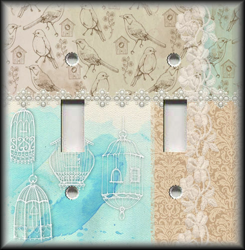 Metal Light Switch Covers Shabby Chic Home Decor Birds Cages Birds Decor