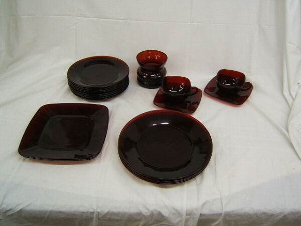 Lot of 18 Pieces Mid Century Anchor Hocking Ruby Red Dishes Cups amp; Saucers $43.99