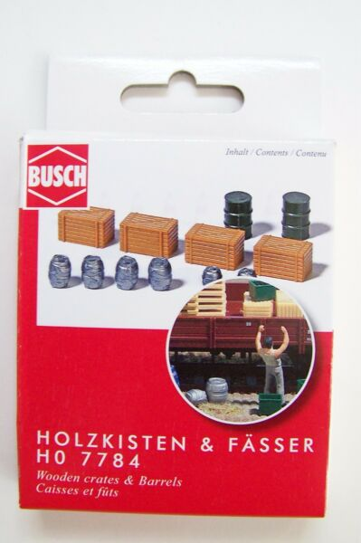 HO Busch TWO Oil Drums SIX Beer Barrels & FOUR Crates : Model Detail KIT # 7784