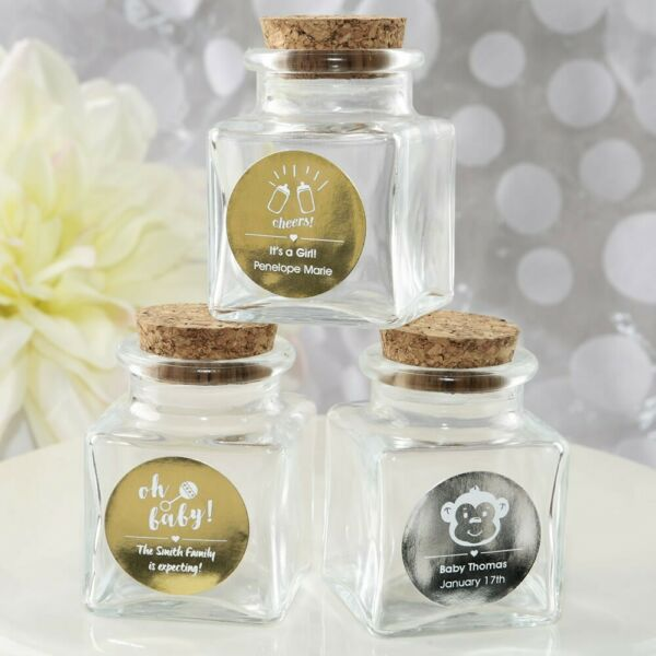 40 Personalized Square Glass Candy Jars Baby Shower Party Favors