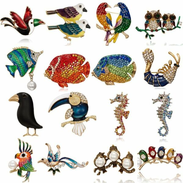 Fashion Women Pearl Crystal Fish Animal Bird Owl Breastpin Brooch Pin Jewelry