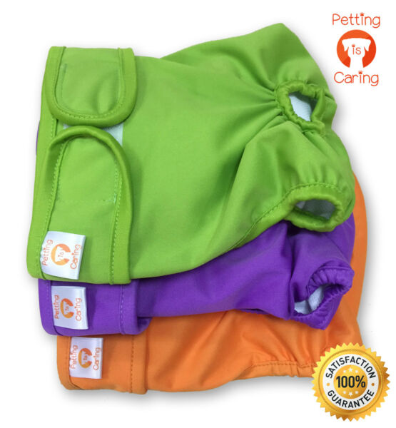 Female Dog Diapers Washable amp; Reusable by PETTING IS CARING Set Pack of 3 Unit $14.98