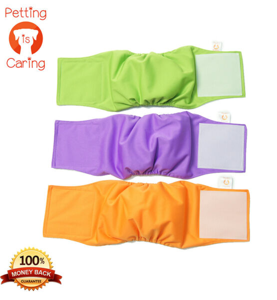 MALE DOG Belly Band WRAPS WASHABLE by PETTING IS CARING Set Pack 3 of units $15.98