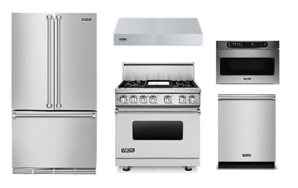 Viking 36in Refrigerator 36in Dual Fuel Range Hood Microwave and Dishwasher