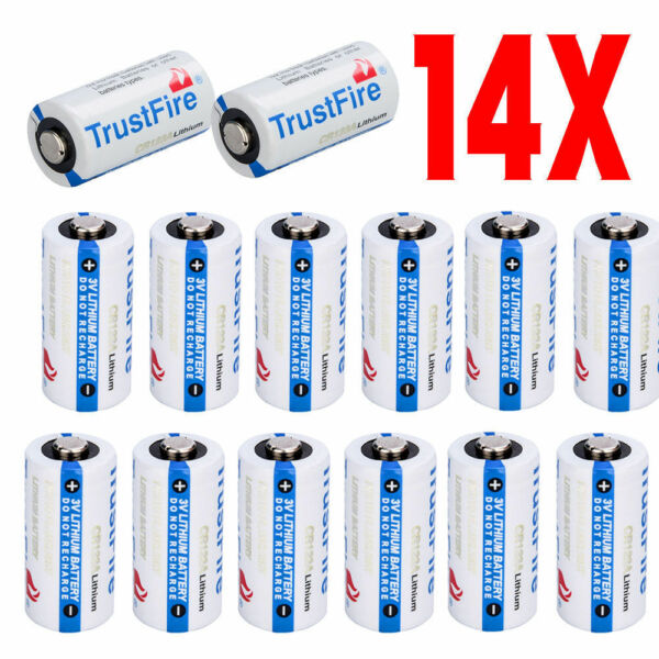 14Pack CR123A 123A Disposable 1400mAh 3V Lithium Batteries for Camera Flashlight