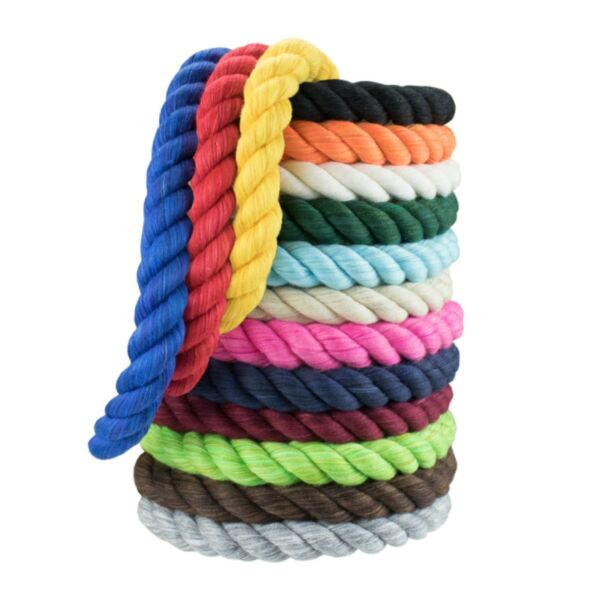 P2 Colored Twisted Cotton Rope 1 4 amp; 1 2 in Rope by the Foot Pet Safe USA Made
