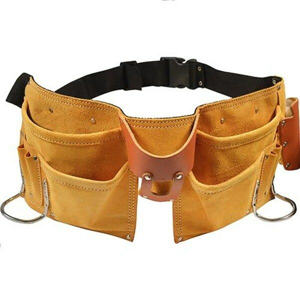 11 POCKET LEATHER TOOL BELT w/ QUICK RELEASE BUCKLE Carpenter Construction Pouch