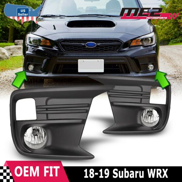 For 2018-2019 Subaru WRX Clear Fog Light Pair Wiring+Switch+Bezel Replacement