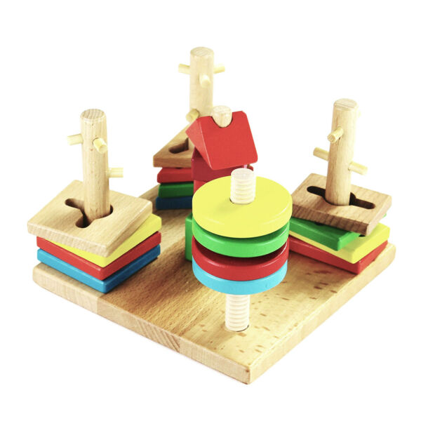 Montessori Wooden Stacking Toy and Shape Sorter Brainteaser for Toddlers Kids $15.95