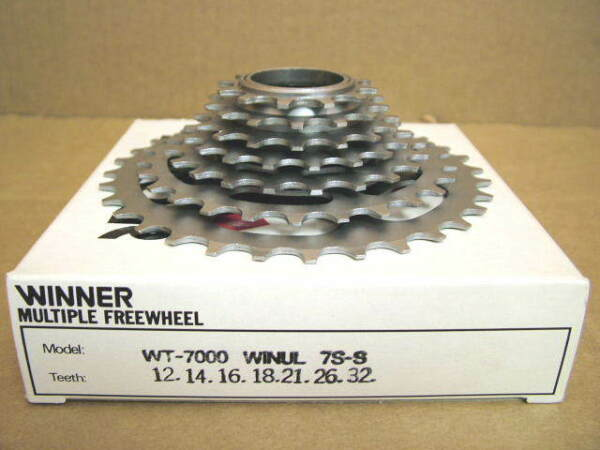New-Old-Stock Suntour Winner Ultra 7-Speed Freewheel (12x32) wSilver Finish