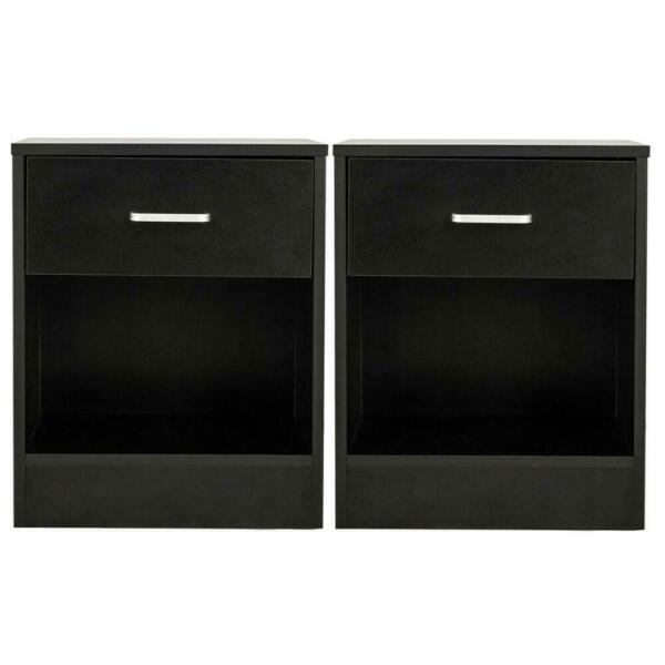 Set of 2 Night Stand 2 Layer Bedside End Table Organizer Bedroom Nightstand