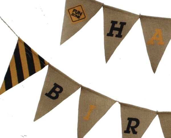 Jayd Products Happy Birthday Burlap Banner Construction Party