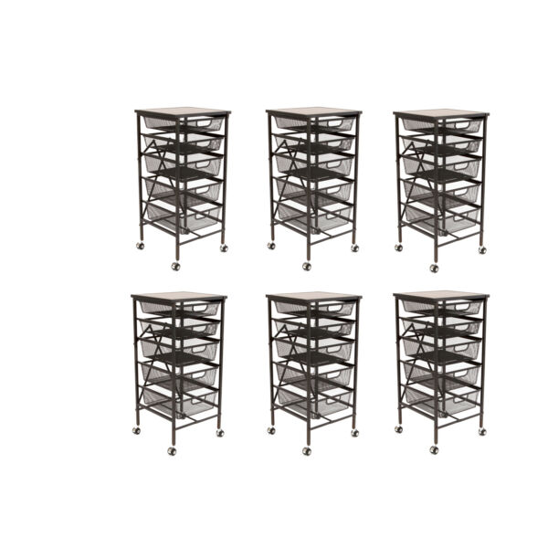 Origami Wheeled Foldable 5 Steel Drawer Storage Caddy Cart w Wooden Top (6 Pack)